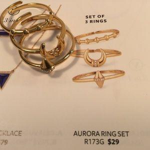 Stella and Dot Aurora 3 Ring Set Gold